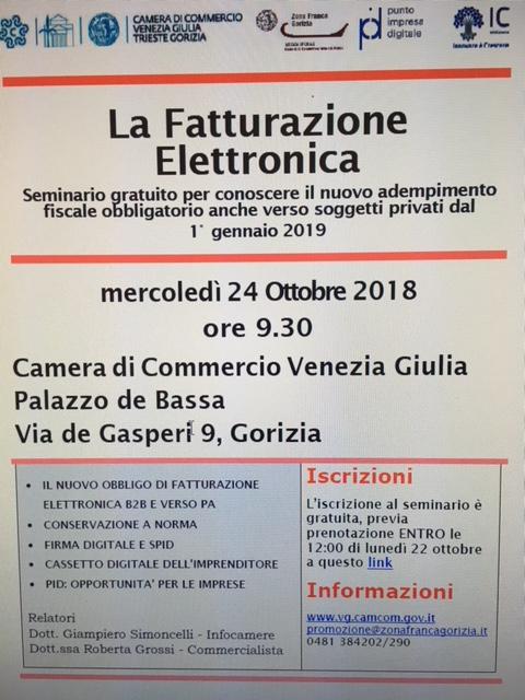 Camera di Commercio venezia Giulia - Seminario gratuito per fatturazione Elettronica